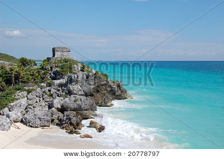 Tulum Mexico Mayan ruins on the beach