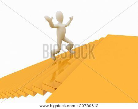 3d man running along the golden forest to Success