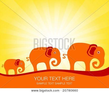 Elephant family at sunrise or sunset.