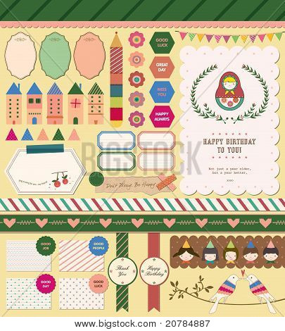Beautiful Scrapbook Collection for Girl, Party, Memory, Stickers, Card Design.