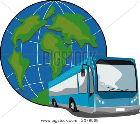 Blue Bus Coach With Globe