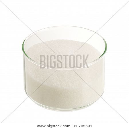 White Sugar In Round Glass Bowl