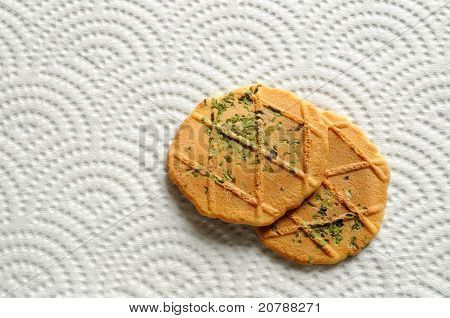 Biscuits on paper place-mat