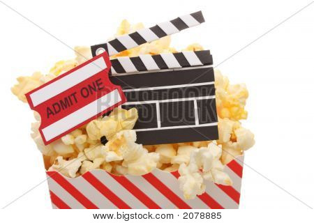 Popcorn, Admission Ticket And Movie Clapper