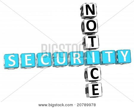 3D Security Notice Crossword
