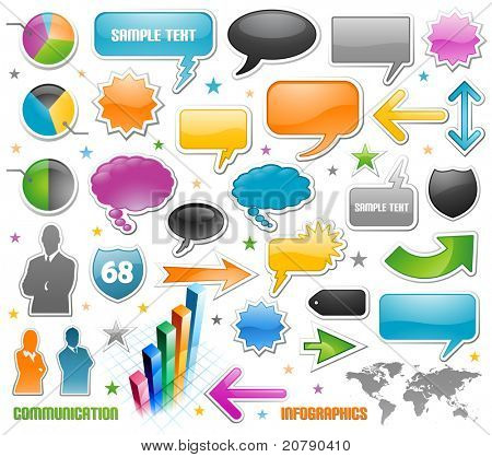 Infographic vector graphs and speech bubbles