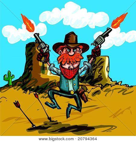 Tiro cowboy de desenhos animados