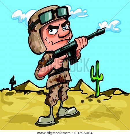 Cartoon american soldier in the desert