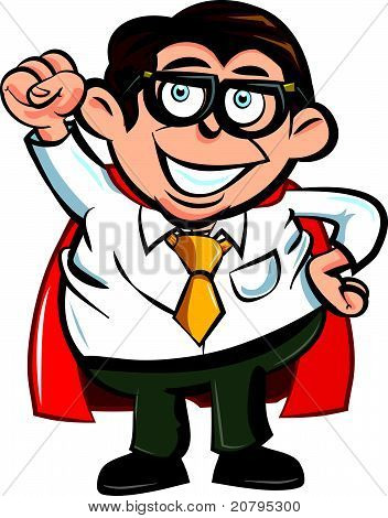 Cartoon superhero business man