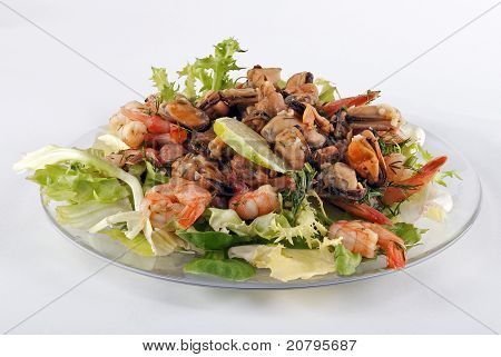 Salad on a glass plate