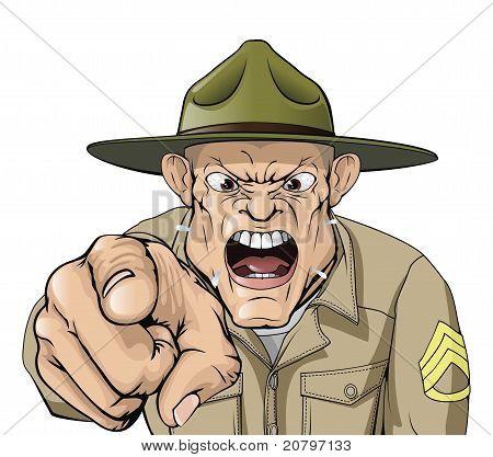 Cartoon irritado gritando de sargento do exército