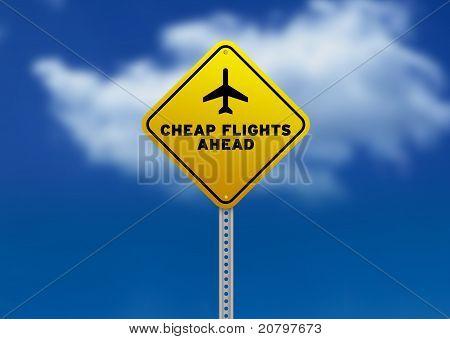 Cheap Flights Ahead Road Sign