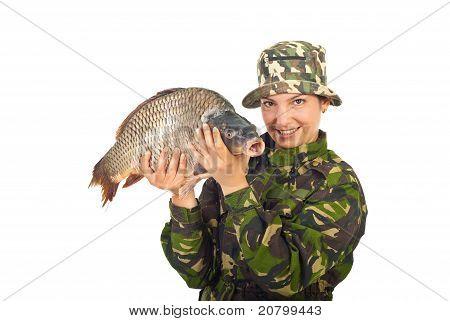 Angler Woman With Big Carp Captured
