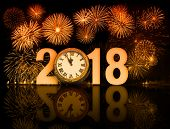 2018 happy new year fireworks with old clock face poster