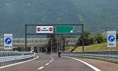Traffic Sign At End Of Motorway  And The Text Fine Autostrada Th poster