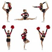picture of cheerleader  - Cheerleader shows different poses with red Pompons - JPG