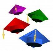 foto of graduation hat  - graduation hats on white - JPG