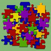 Colored Jigsaw Pieces