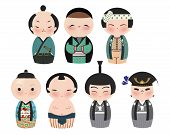 A series of cute japanese kokeshi characters. Suitable for Scrapbook.