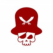 Pirate Skull Logo. Head Of Skeleton And Sabers. Pirate Symbol. Vector Illustration poster