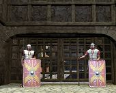 stock photo of guardsmen  - Two imperial Roman legionaries guarding the gate to a fortress or city - JPG