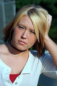 Young Blond Woman Outdoor Portrait