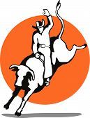 pic of bull-riding  - Vector art of a Rodeo cowboy riding a bull - JPG