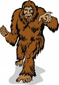pic of bigfoot  - Vector art of the Abominable Snowman pointing a finger - JPG