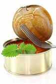 stock photo of musky  - a tin of musk octopus in tomato sauce - JPG
