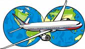 picture of eastern hemisphere  - passenger aircraft in the background of two hemispheres of the earth - JPG