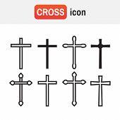 Cross Christian. Christian Cross Icons. Line Black Christian Cross poster