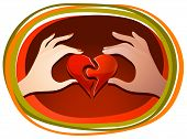 image of reunited  - Male and female hands each holding one half of the heart and matching the halves together - JPG