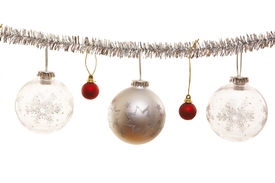foto of christmas ornament  - Silver christmas ornament with decorative christmas balls - JPG