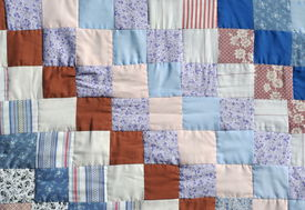 foto of scrappy  - Handmade colorful padded pattern patchwork folksy multicolored quilt - JPG