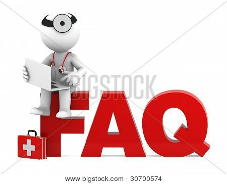 Medic Sitting On Faq Sign. Frequently Asked Questions Concept