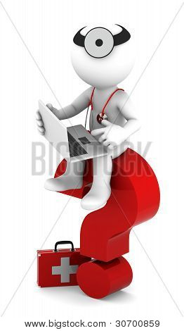 Medic With Laptop Sittting On Red Question Mark