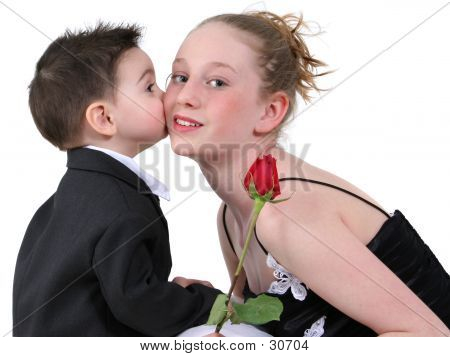 Little Boy's First Kiss