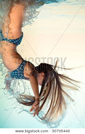 blonde woman on water bckground