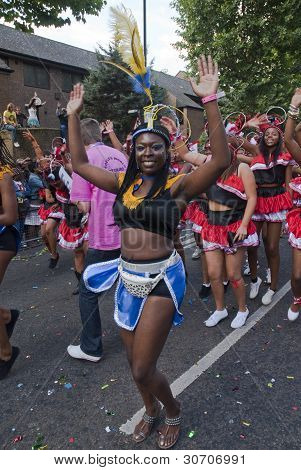 Dancer From The Peoples World Float At The Notting Hill Carnival