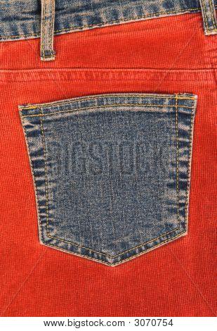 Corduroy Clothing With Denim Pocket