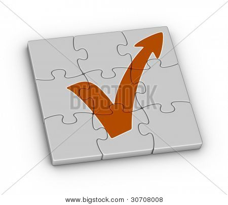 orange check mark with arrow on jigsaw puzzle