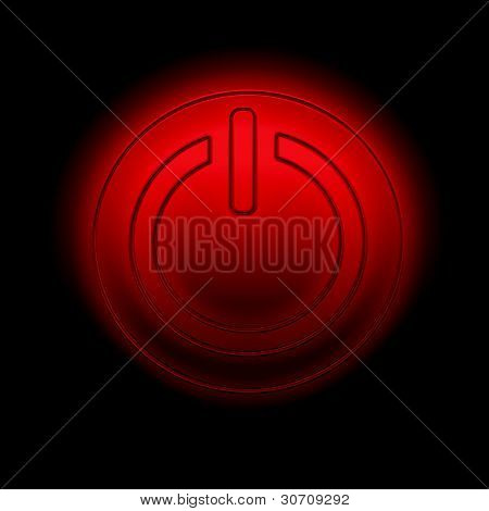 Picture of a power button against black background