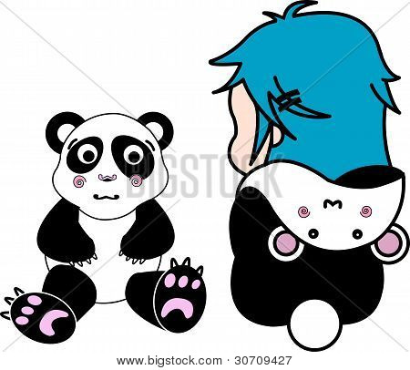 Cute Doodle Of A Girl Dressed As A Panda, Playing