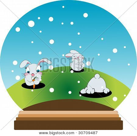 Snow Globe With Bunnies