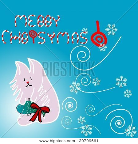 Cute Kitty Illustration For Christmas