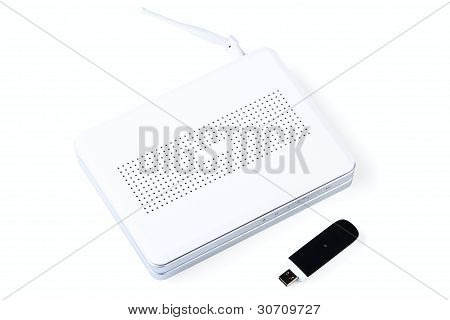 White Wireless Router And Usb Modem