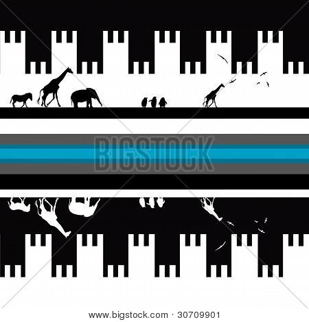 Seamless Greek Pattern With Animals