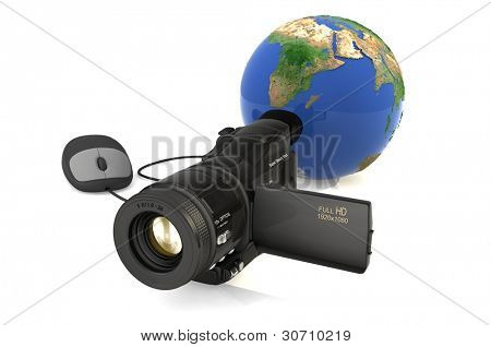 Globe and camera on a white background.