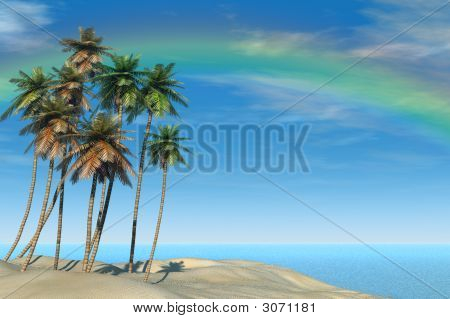Tropical Beach And Rainbow