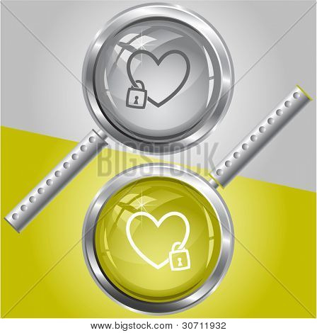 Closed heart. Raster magnifying glass. Vector version is in my portfolio.